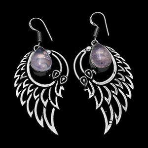 Jewelry - Rose Quartz 925 Sterling Angel Wing Earrings NWOT